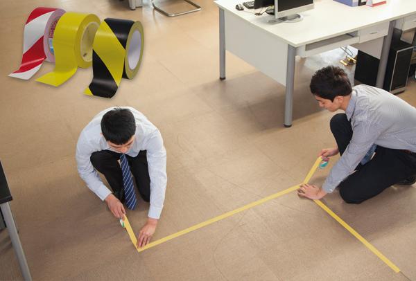 Rollo con cinta adhesiva laminada para marcado de suelo DISTANCIA DE SEGURIDAD COVID 19